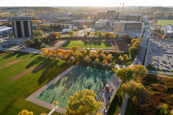 Aerial view of the western portion of the University of Wisconsin-Madison campus in the autumn sunset