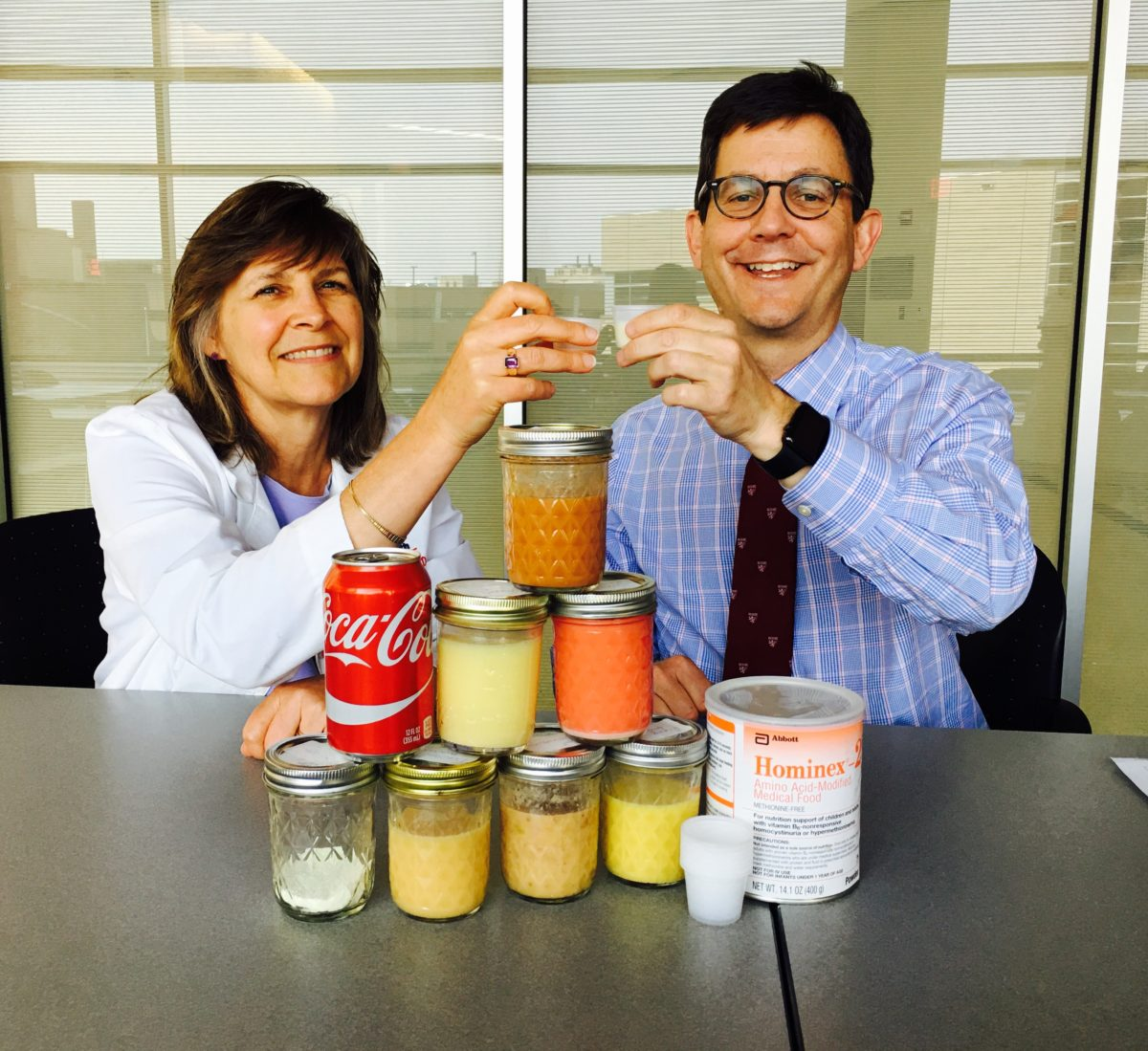 Lisa Davis, RD and Vincent Cryns, MD taste testing the medical food lacking methionine
