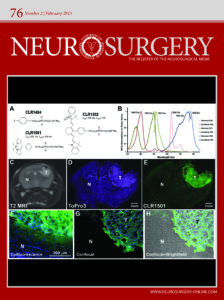 "The February 2015 cover of ""Neurosurgery"" features images taken by SAIF as well as skeleton formulas of molecules and a graph."