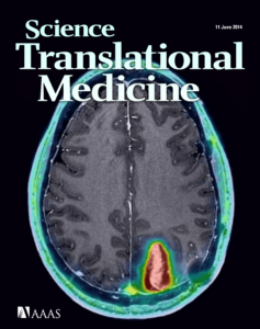 "The June 2014 cover of ""Science Translational Medicine"" featuring a scan of a brain, taken by SAIF."