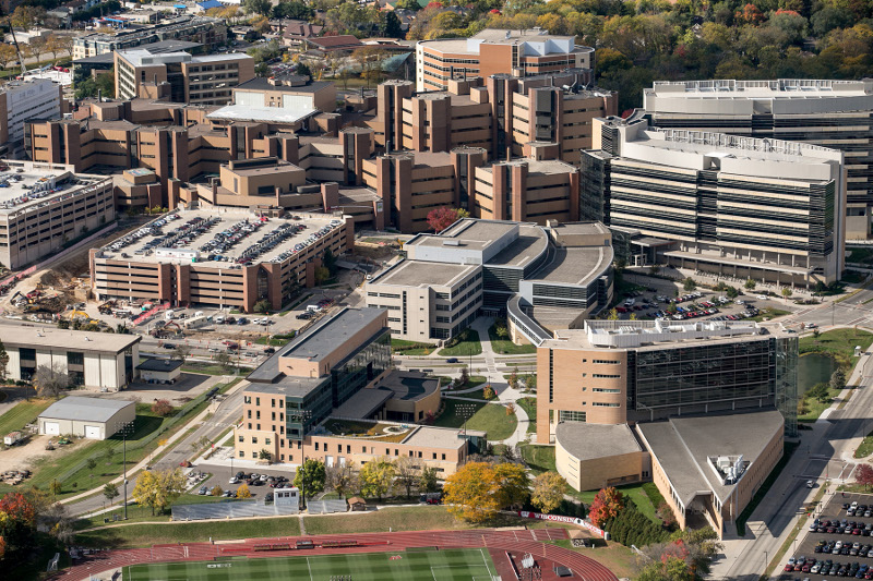 Aerial image of the medical campus at the University of Wisconsin - Madison