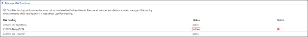 hide fundings