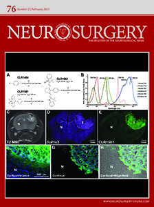 """The February 2015 cover of """"Neurosurgery"""" features images taken by SAIF as well as skeleton formulas of molecules and a graph."""