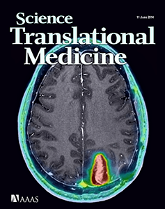 """The June 2014 cover of """"Science Translational Medicine"""" featuring a scan of a brain, taken by SAIF."""