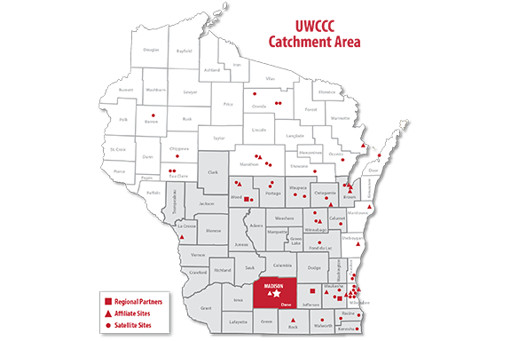 Map of Wisconsin catchment areas by county.