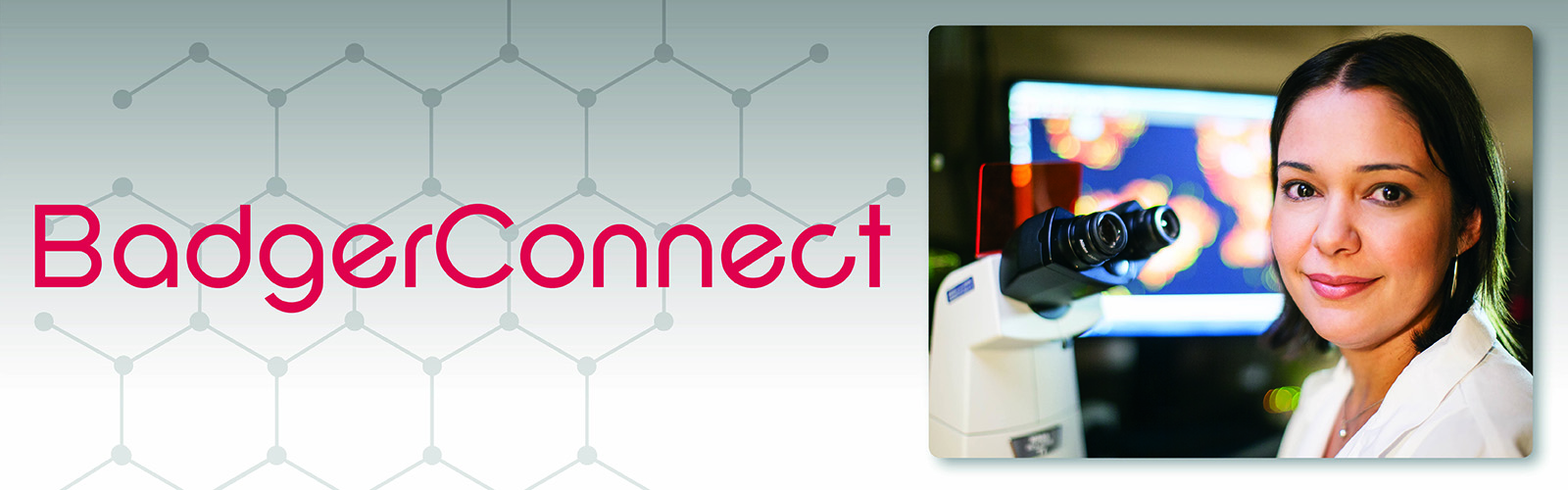 BadgerConnect banner with text reading BadgerConnect and an inset photo of a woman in a labcoat smiling at the camera