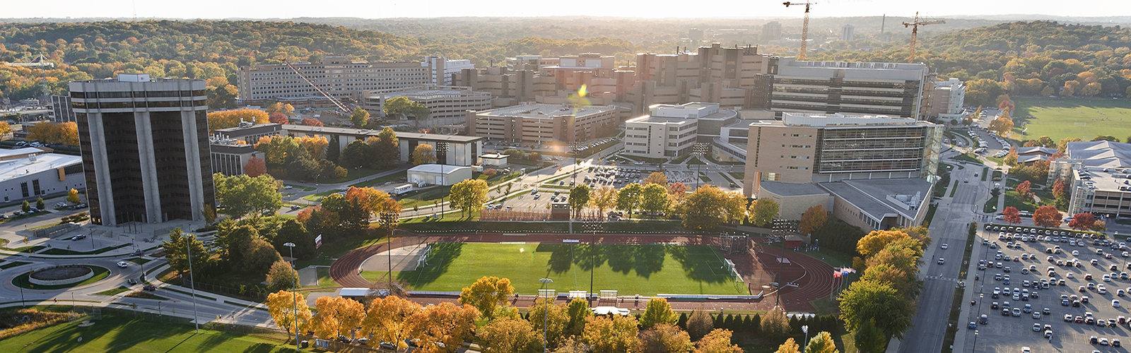 Aerial view of the western portion of the University of Wisconsin-Madison campus