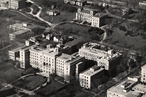 Aerial view of Wisconsin General Hospital in the 1950s, with the old McArdle Laboratories in the foreground.
