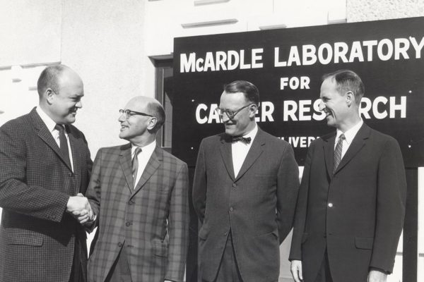 The dedication of UW McArdle Lab in 1960. From left to right are, Congressman Melvin Laird; Dr. Harold P. Rusch; Dr. K. Endicott, Director of the NCI; Robert Clodius, UW Vice President of Academic Affairs.