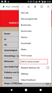 """Screenshot of an Android device with the Mobile SIP open, with option """"Add to Home screen"""" highlighted"""
