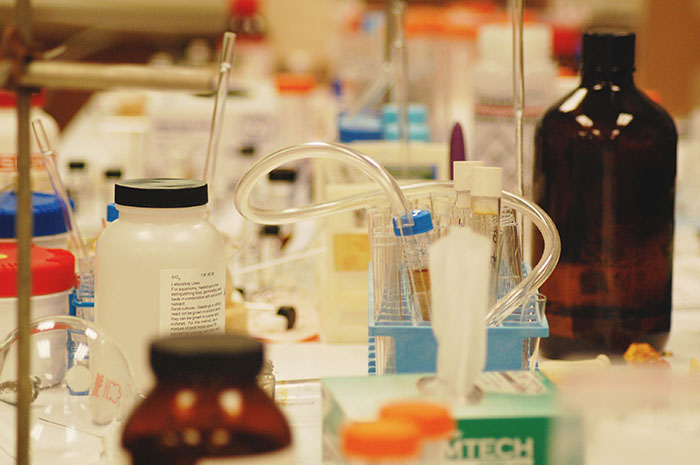 Equipment in a lab: bottles, vials, and tubes