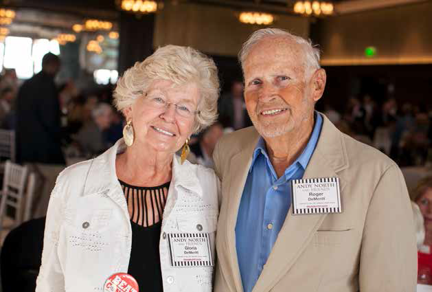 Gloria and Roger DeMeritt at the Andy North and Friends event. The DeMeritts donate funds to the Director's Fund and attend UWCCC events supporting cancer research