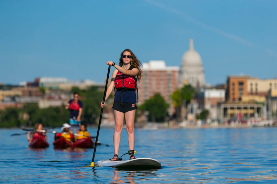 Image of a woman on a paddle board